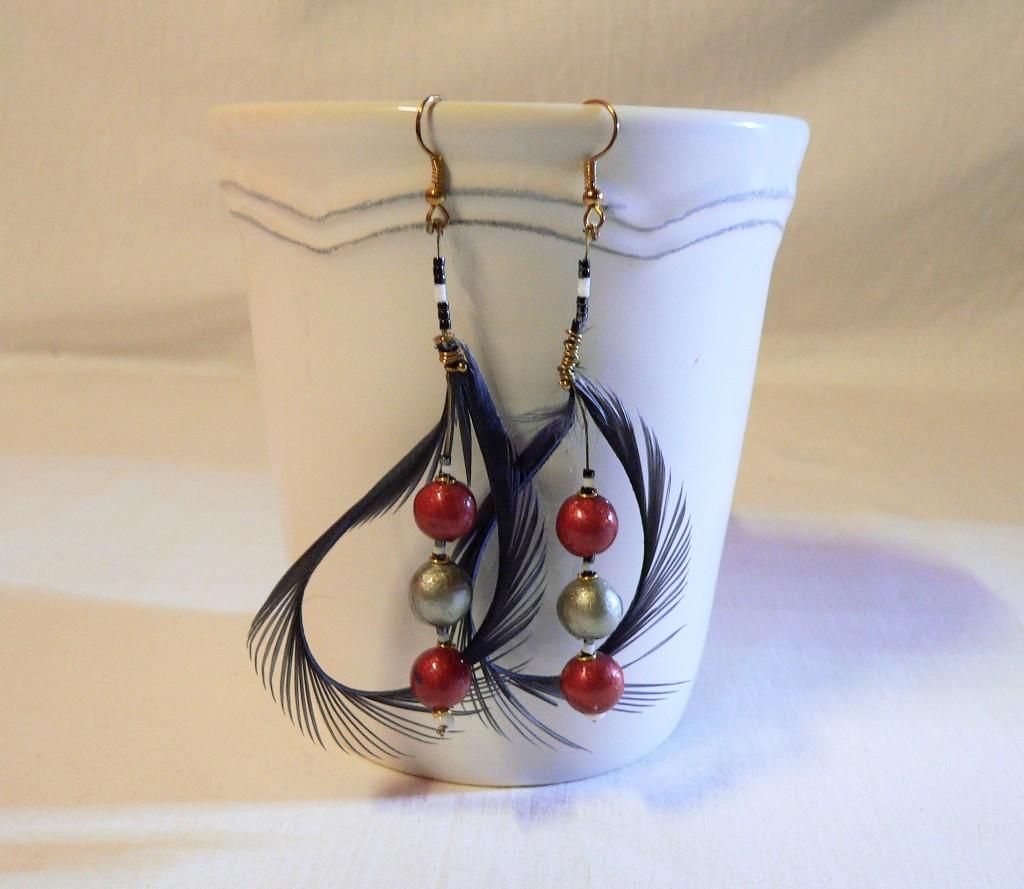 Boucles d'oreilles plume et céramique